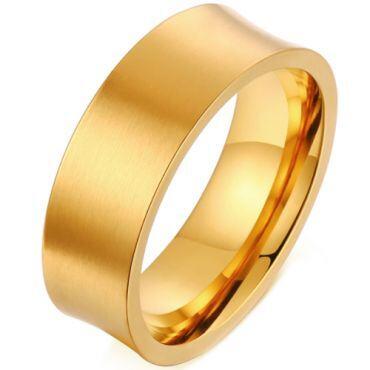 *COI Titanium Gold Tone Concave Ring-6868