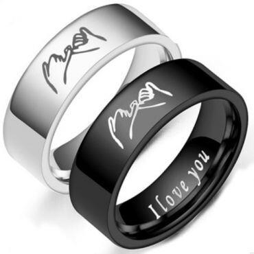 *COI Tungsten Carbide Black/Silver I Promise I Love You Pipe Cut Flat Ring-6872