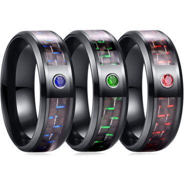 *COI Black Titanium Carbon Fiber Beveled Edges Ring With Cubic Zirconia-6881