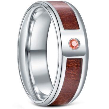 *COI Titanium Wood Beveled Edges Ring With Cubic Zirconia-6885