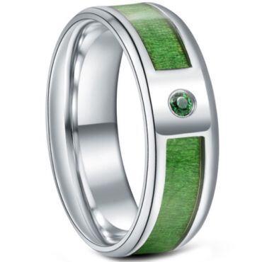 *COI Titanium Wood Beveled Edges Ring With Cubic Zirconia-6886