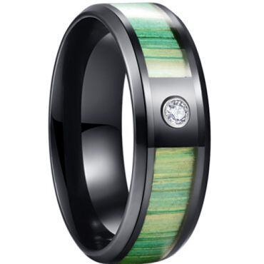 *COI Black Titanium Wood Beveled Edges Ring With Cubic Zirconia-6887