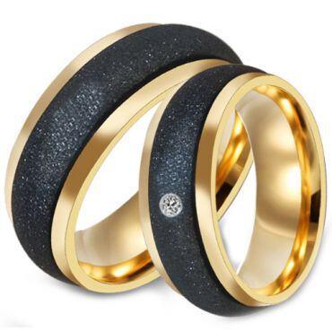 *COI Titanium Black Gold Tone Sandblasted Ring-6889