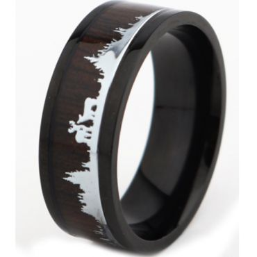 *COI Titanium Black/Rose Hunting Scene Pipe Cut Flat Ring With Wood-6891