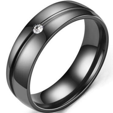 *COI Black Titanium Groove Dome Court Ring With Cubic Zirconia-6893