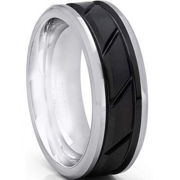 *COI Titanium Black Silver Diagonal Grooves Ring-6897