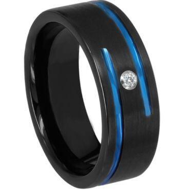*COI Titanium Black Blue Pipe Cut Ring With Cubic Zirconia-6898