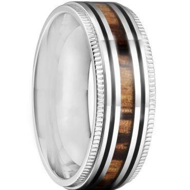 *COI Titanium Black Silver Milgrain Ring With Wood-6900