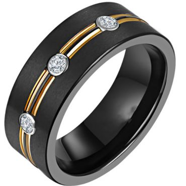 *COI Titanium Black Silver Double Grooves Ring With Cubic Zirconia-6901