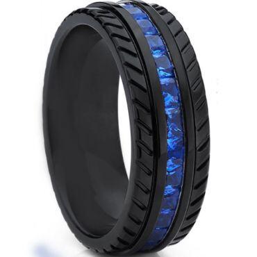 *COI Black Titanium Tire Tread Ring With Created Blue Sapphire-6903
