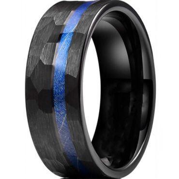 *COI Black Titanium Hammered Ring With Meteorite-6905
