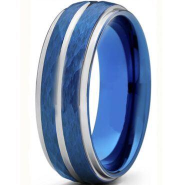 *COI Titanium Blue Silver Hammered Sandblasted Center Groove Ring-6909