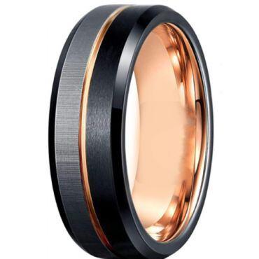 *COI Titanium Black Rose Center Grooves Beveled Edges Ring-6910