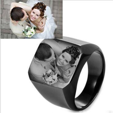 **COI Titanium Black/Silver/Blue/Gold Tone Signet Ring With Photo Engraving-6913