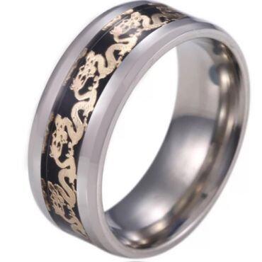**COI Titanium Beveled Edges Ring With Dragon-6919