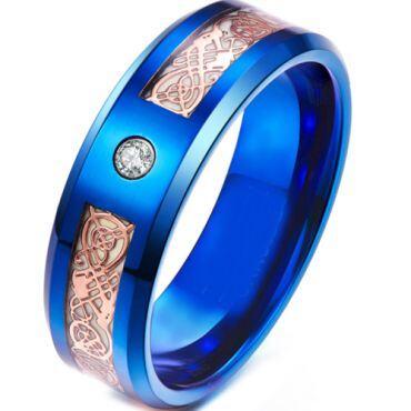 **COI Blue Titanium Luminous Dragon Beveled Edges Ring With Cubic Zirconia-6920