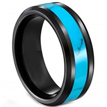 **COI Black Titanium Turquoise Beveled Edges Ring-6921