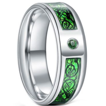 **COI Titanium Dragon Beveled Edges Ring With Created Green Emerald-6922