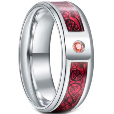 **COI Titanium Dragon Beveled Edges Ring With Created Pink Red Sapphire-6923