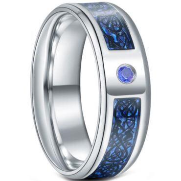 **COI Titanium Dragon Beveled Edges Ring With Created Blue Sapphire-6924
