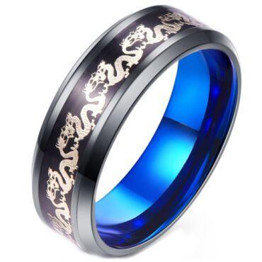 **COI Titanium Black Blue Dragon Beveled Edges Ring-6925