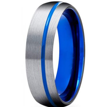 **COI Titanium Blue Silver Offset Grooves Dome Court Ring-6928