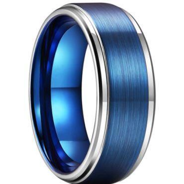 **COI Titanium Blue Silver Step Edges Ring-6929