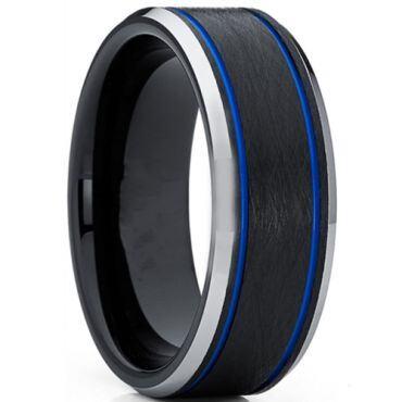 **COI Titanium Black Blue Double Grooves Beveled Edges Ring-6931