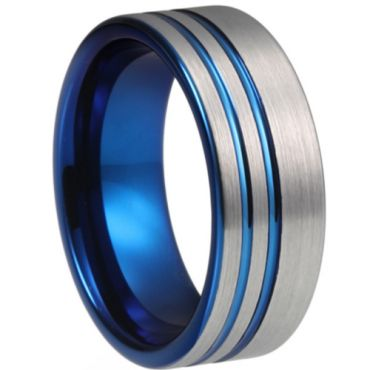 **COI Titanium Blue Silver Double Grooves Pipe Cut Flat Ring-6932