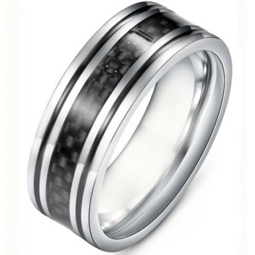 **COI Titanium Black Silver Double Grooves Ring With Carbon Fiber-6934