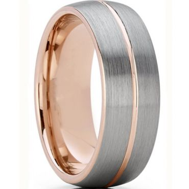 **COI Titanium Rose Silver Center Groove Dome Court Ring-6935