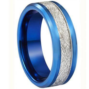 **COI Blue Titanium Beveled Edges Ring With Meteorite-6936