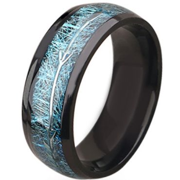 **COI Black Titanium Meteorite Dome Court Ring With Arrows-6938