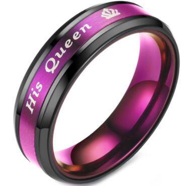 **COI Titanium Black Purple His Queen & Crown Beveled Edges Ring-6940