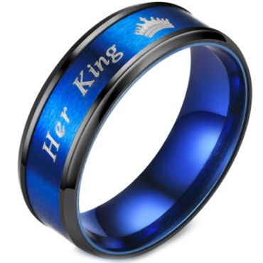 **COI Titanium Black Blue Her King & Crown Beveled Edges Ring-6941