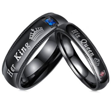 **COI Black Titanium His Queen/Her King & Crown Ring With Cubic Zirconia-6942