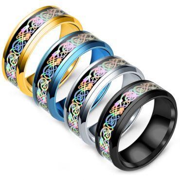 **COI Titanium Gold Tone/Black/Blue/Silver Rainbow Pride Dragon Beveled Edges Ring-6943