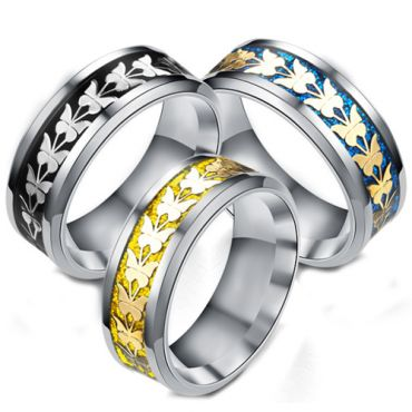 **COI Titanium Black/Gold Tone/Blue Silver Butterfly Beveled Edges Ring-6944
