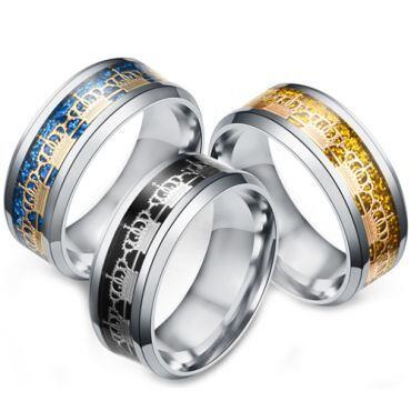 **COI Titanium Black/Gold Tone/Blue Silver King Crown Beveled Edges Ring-6945