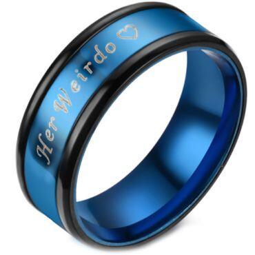 **COI Titanium Black Blue Her Weirdo & Heart Beveled Edges Ring-6946