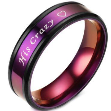 **COI Titanium Black Purple His Crazy & Heart Beveled Edges Ring-6947