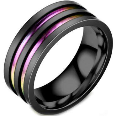 **COI Black Titanium Rainbow Pride Double Grooves Ring-6950