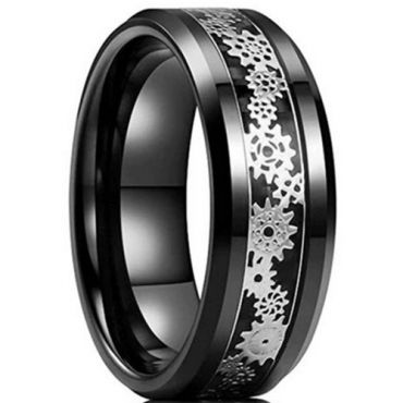 **COI Black Tungsten Carbide Gears Beveled Edges Ring-6951