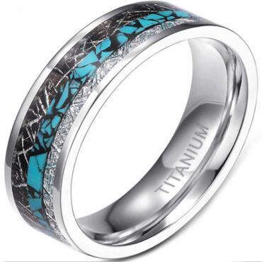 **COI Titanium Turquoise & Meteorite Pipe Cut Flat Ring-6952