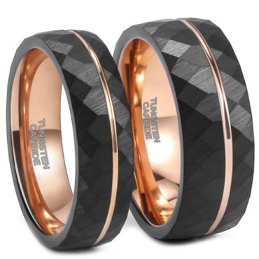 **COI Tungsten Carbide Black Rose Faceted Offset Grooves Ring-6953