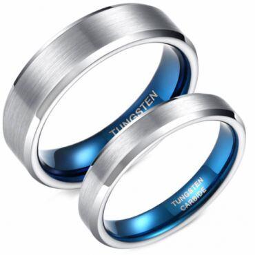 **COI Tungsten Carbide Blue Silver Beveled Edges Ring-6955