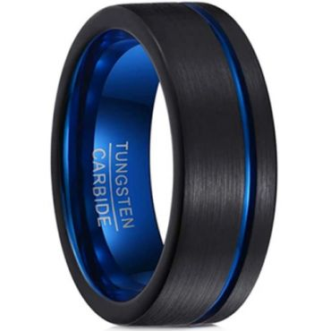 **COI Tungsten Carbide Black Blue Offset Groove Pipe Cut Flat Ring-TG6958