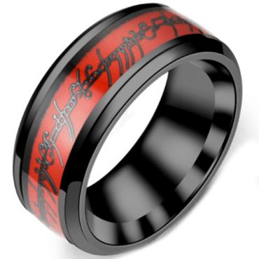 **COI Titanium Black Red Lord of The Ring Beveled Edges Ring-6969