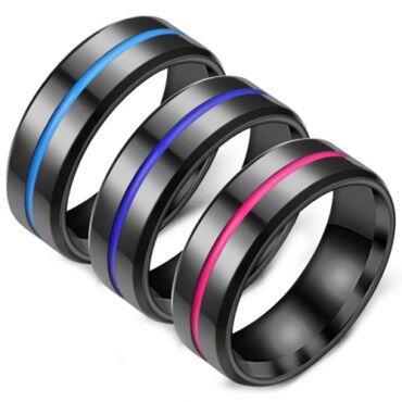 **COI Black Titanium Blue/Purple Center Groove Beveled Edges Ring-6970