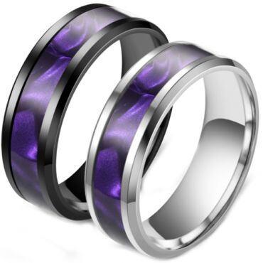 **COI Titanium Black/Silver Purple Blue Camo Beveled Edges Ring-6973